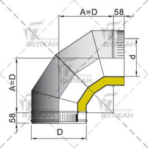 Отвод с изоляцией DOTH 90° 250 мм