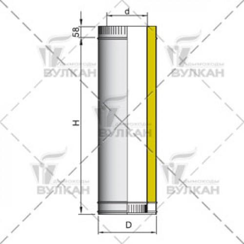 Труба двустенная с изоляцией DTH 1000 180 мм