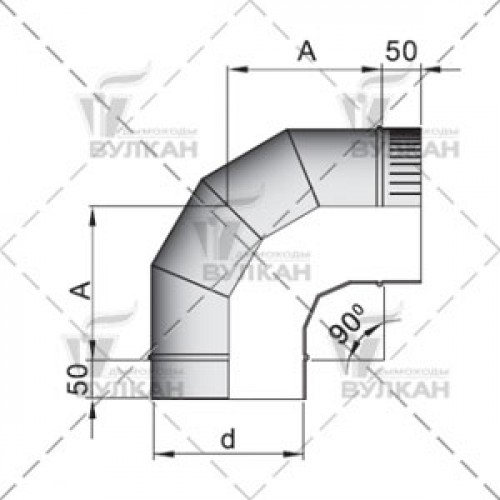 Отвод OTH 90° 150 мм
