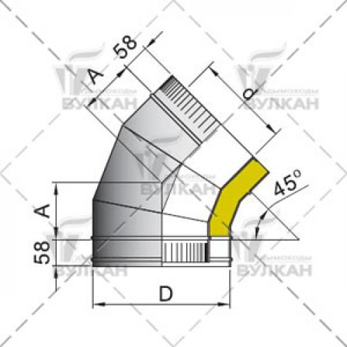 Отвод с изоляцией DOTH 45° 200 мм