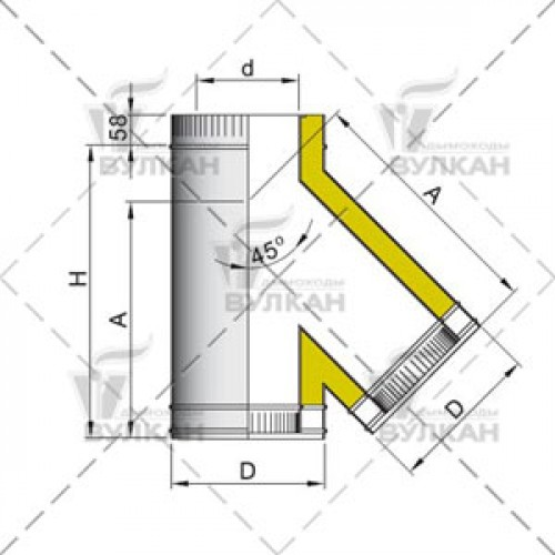 Тройник с изоляцией DTRH 45° 115 мм