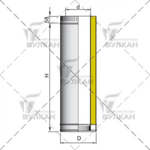 Труба двустенная с изоляцией DTH 500 200 мм