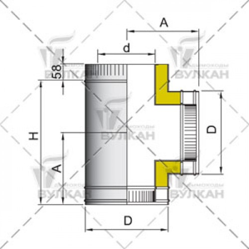 Тройник с изоляцией DTRH 90° 160 мм