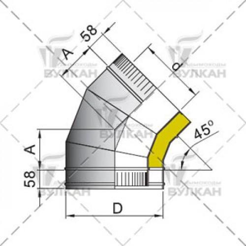 Отвод с изоляцией DOTH 45° 180 мм