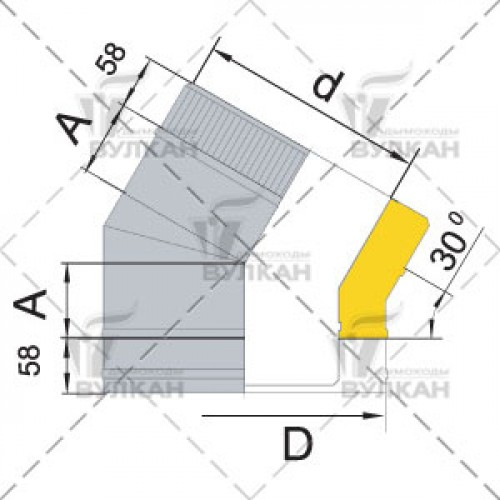 Отвод с изоляцией DOTH 30° 180 мм
